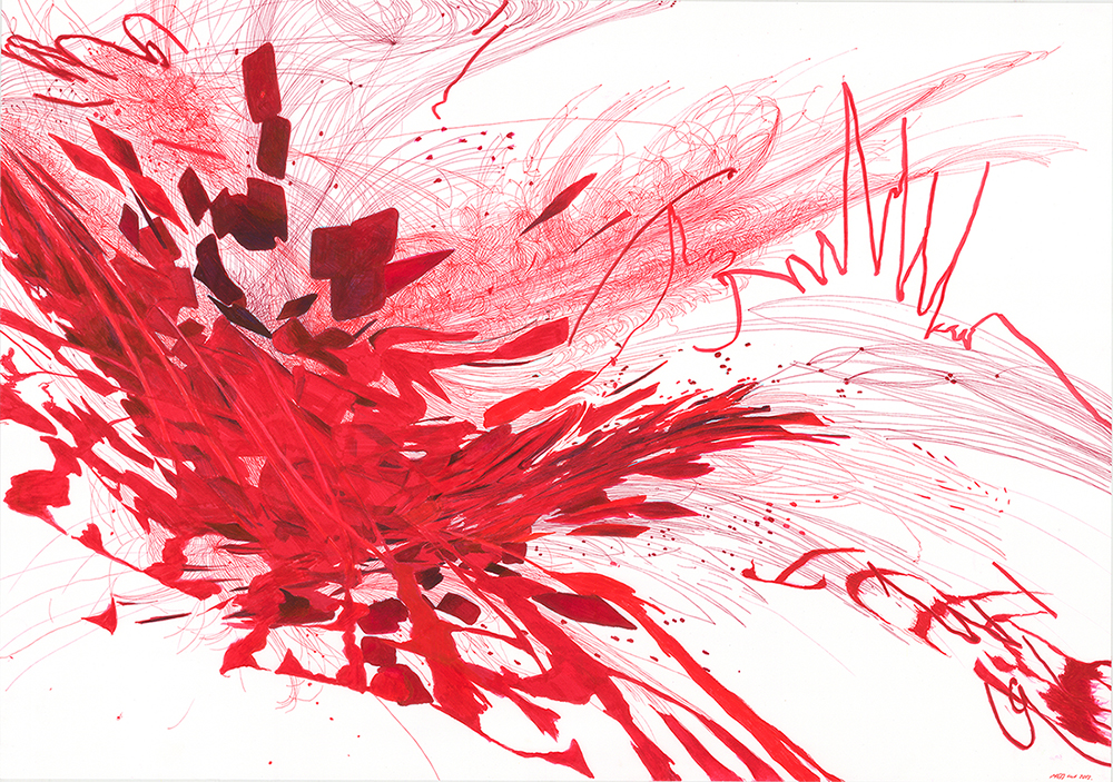 Maess Anand, Fall of platelet, marker on paper, 70 x 100 cm, 2014