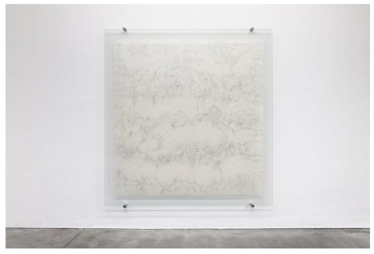 Paula Doepfner, YOU and ME (Atemzüge eines Sommertags), Tusche auf Gampi-Papier, Panzerglas, Stahl, 240 x 229 cm, 2016 – 2017. Foto:Stefan Haenel, Galerie Thomas Schulte, Berlin